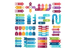 Colored arrows for business presentations. Vector collection of infographic elements
