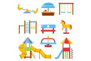 Flat illustrations of kids playground with various equipment