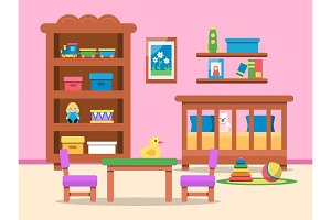 Vector picture of kids room interior. Bed, table and various toys