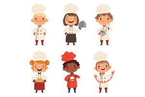 Kids characters prepare food