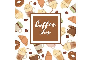 Background illustration with various coffee cups. Design poster template for cafe