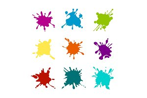 Paint splashes of various colors
