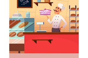 Background illustration of baker male at work