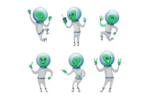 Funny aliens standing in various poses. Vector humanoids
