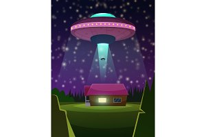 Vector background illustration of ufo