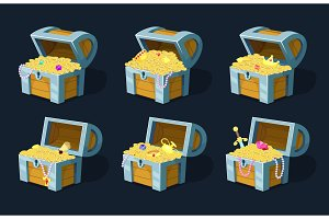 Vector illustration of cartoon chest with treasure