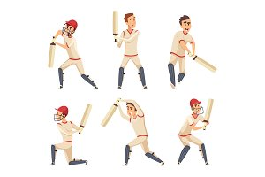 Sport players of cricket. Vector characters isolated