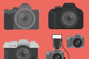 DSLR Camera Vector Illustrations