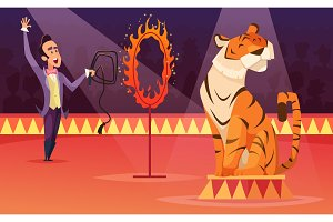 Cartoon characters of circus. Vector background illustration