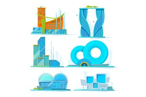 Futuristic buildings set. Vector flat pictures of various stylized buildings