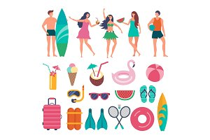 Various characters of summer travellers. Vector illustrations of peoples