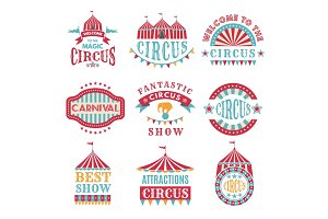 Retro badges or logotypes of carnival and circus