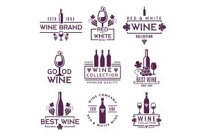 Logotypes or badges of wine brands