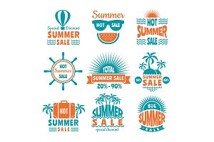 Summer sale labels. Design template of badges isolate on white