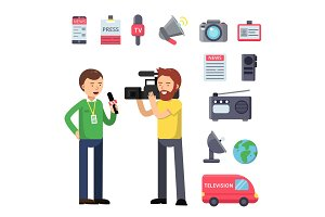 Set thematic symbols of broadcasting and interview. Vector characters isolated