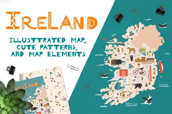 Illustrations and Illustration Products: Daria Krasnova - Ireland: illustrated map