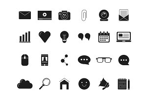 Blogging symbols. Web icon in black style. Vector monochrome pictures