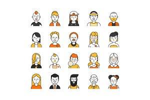 Users icon set in linear style. Various funny characters male and female