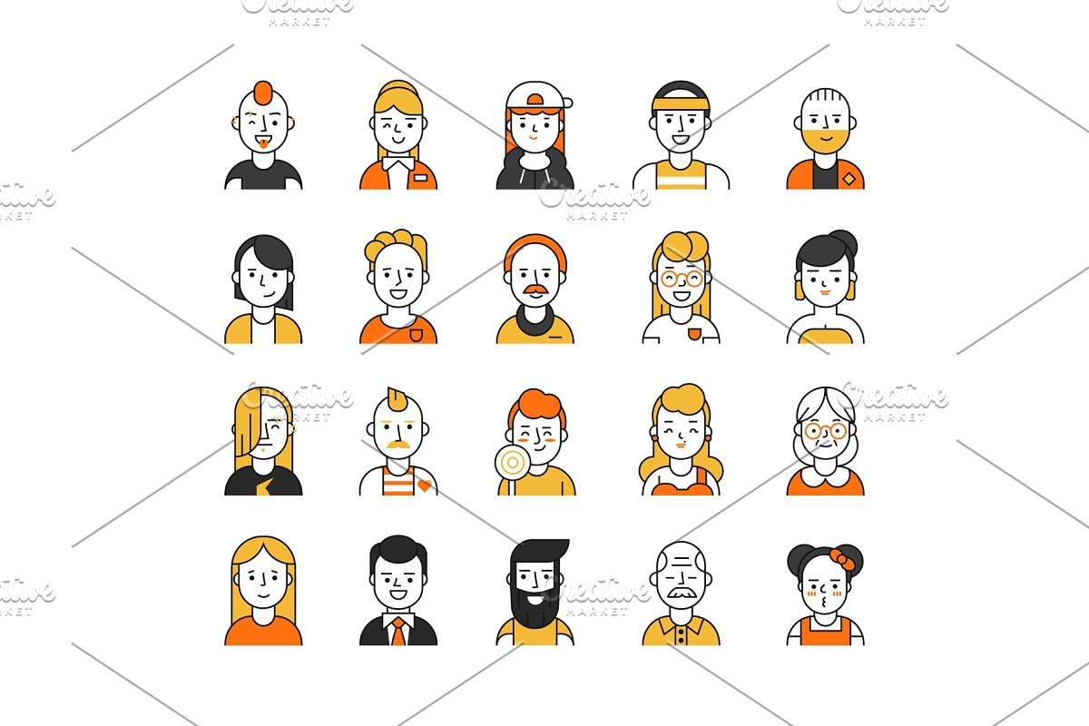 Users Icon Set In Linear Style Various Funny Characters Male And