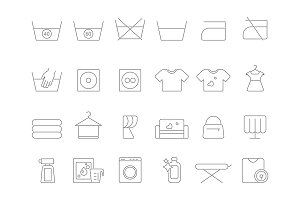 Washing and laundry line symbols. Vector icons set of dry cleaning