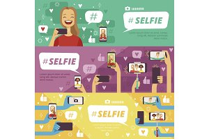 Horizontal banners with people which making selfie photos on his smartphones and photo cameras