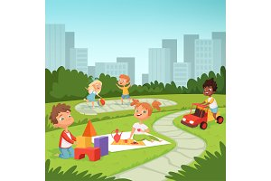 Childrens playing in educational games outdoor . Various equipment for kids