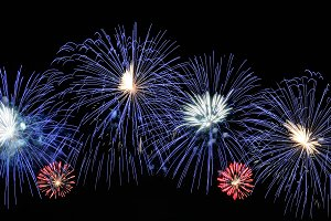 Amazing blue, white and red firework