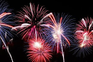 Blue, white and red fireworks