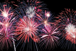 Amazing blue, white, red fireworks