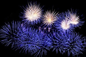 Fireworks of blue and white colors