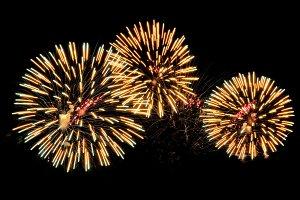 Golden salutes fireworks