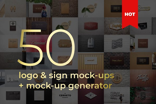 Logo Sign Mockup Generator Badge 3D