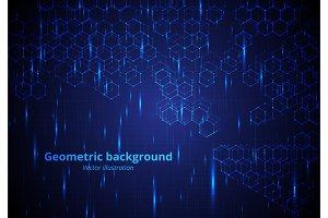Background with hexagonal molecules