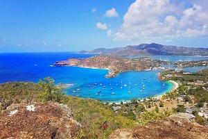 Scenic Antigua beaches in Caribbean