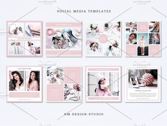 Social Media Templates Set in Instagram Templates