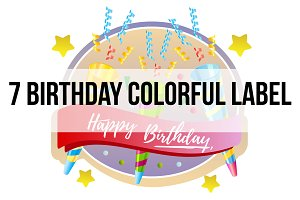 7 birthday colorful label