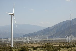 Dramatic Wind Turbine Farm in Desert