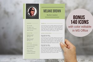 Modern 2 in 1 photo Word resume