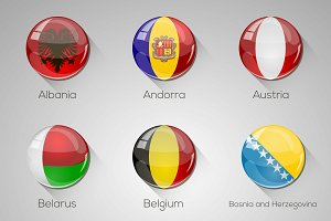 45 European Flags Icons