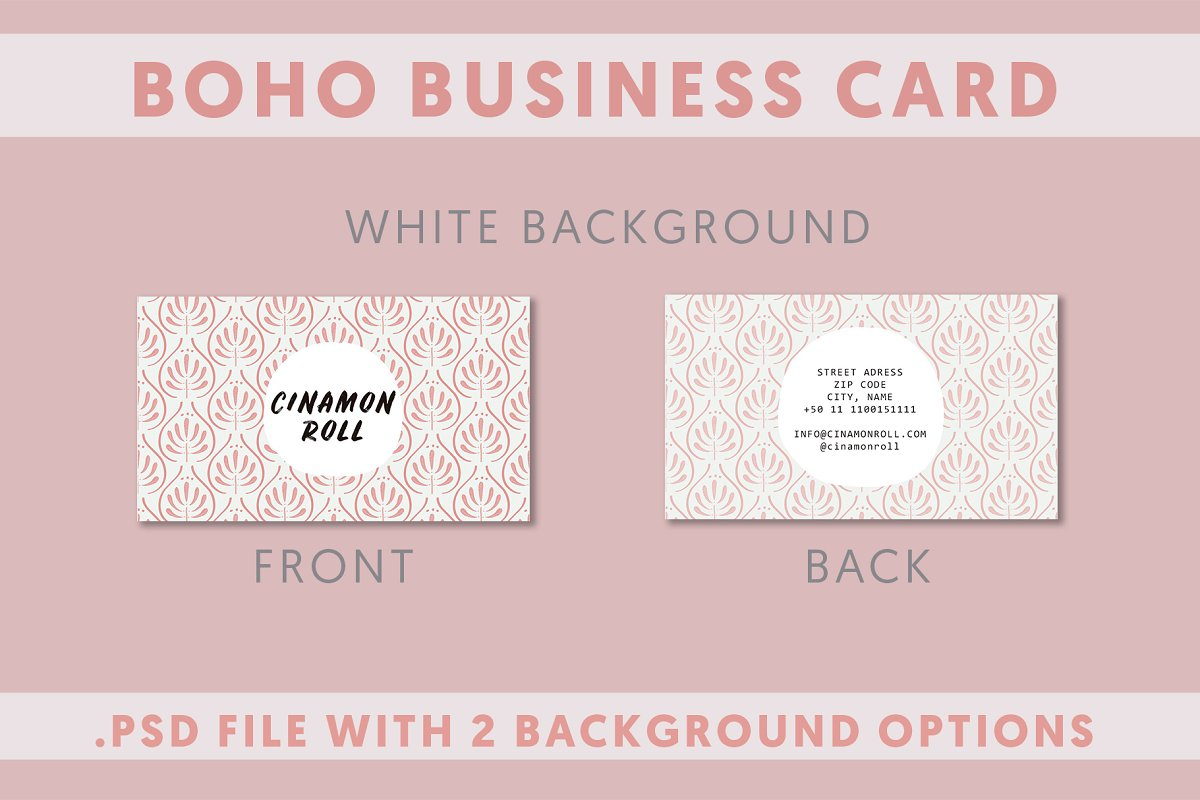 2 Boho Business Card Template in Business Card Templates - product preview 1