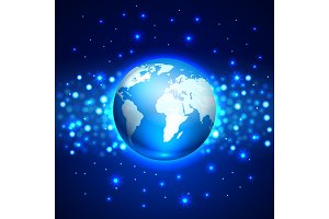 Planet Earth on blue space background