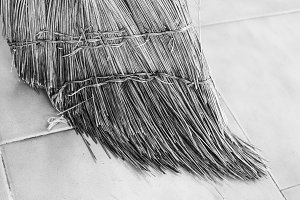 Broom Detail in Black and White