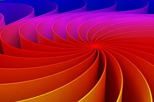 Colorful twirl curved shape. Circle on rainbow background, 3d abstract swirly illustration