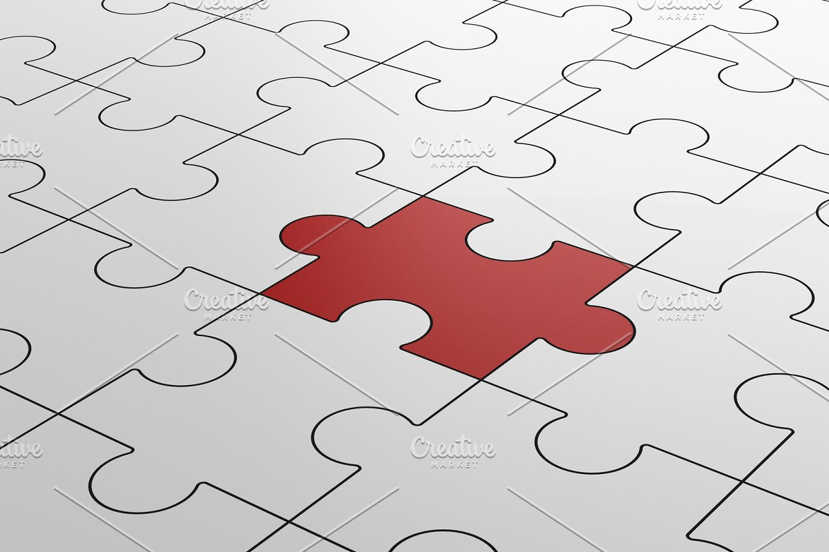 Red jigsaw puzzle among white puzzles in different concept, pattern texture  on white background  3d illustration