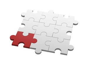 Red jigsaw puzzle among white puzzles in different concept, pattern texture on white background. 3d illustration