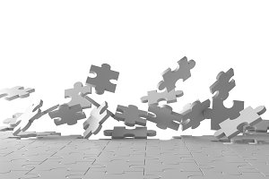 Exploding jigsaw puzzle on white background. Breaking the floor. 3d illustration