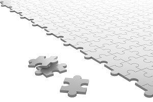 Jigsaw puzzle separated on white background. Pattern texture. 3d illustration