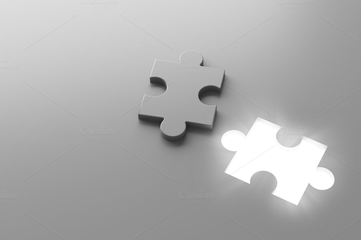 A white jigsaw puzzle piece with a glowing hole, 3d illustration background