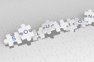 Exploding jigsaw puzzle pieces with solution word. White pattern background, 3d illustration