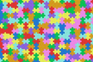 Colorful jigsaw puzzle pattern texture background, Top view. 3d illustration